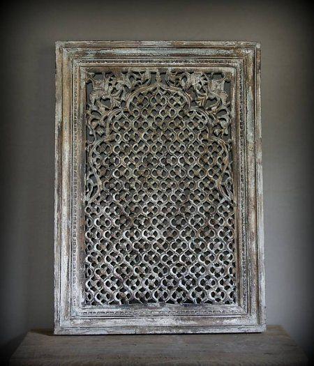 Prachtig groot Nepalees Authentiek houten raam paneel Uniek item