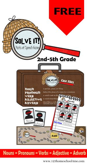 How fun is this? 123 Homeschool 4 Me has a FREE Solve it! Parts of Speech game! Solve It! is a fun way for kids to learn about nouns, p