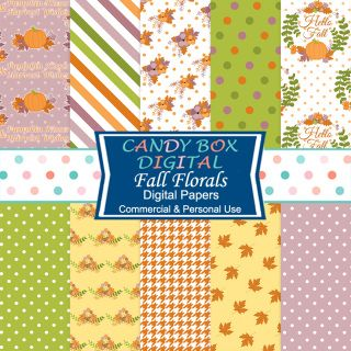 """With pumpkin kisses and harvest wishes, these 10 - 12""""x 12"""" floral digital papers literally say """"Hello Fall"""". The flowers and laurels are hand drawn and scanned, then transferred to digital files. Great for autumn wedding backgrounds, Thanksgiving, cards, scrapbooks, journals, etc.  Personal and Small Business Use OK* 300 DPI 12 X 12 Inch JPGs  Perfect for all sorts of graphic uses: web backgrounds, card making, announcements, scrapbooking, invitations, photo cards, etc!"""