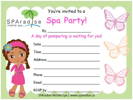 Free Printable Spa Party Invitation by SPAradise Mobile Spa.