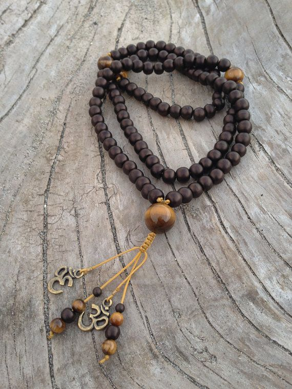Bone and Tiger Eye Traditional Tibetan Buddhist Mala Prayer Bead Necklace. on Etsy, $22.00