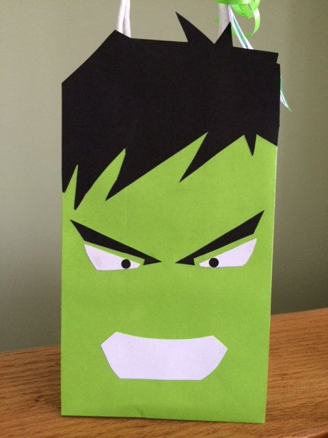 Incredible Hulk Themed Party Favor Bags - Personalized