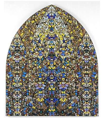"""""""Aubade, Crown of Glory"""" by Damien Hirst. Not stained-glass, but butterfly wings. via @WikiPaintings"""