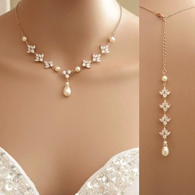 Rose Gold Backdrop Necklace Crystal Backdrop Necklace Pearl Cubic Zirconia Bridal Necklace #2295308 - Weddbook