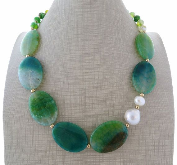 Green agate necklace, baroque pearl necklace, gemstone choker, uk beaded necklace, gemstone jewellery, boho chic jewels, christmas gift    These