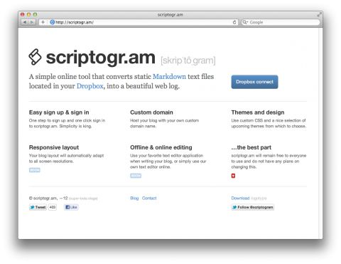 Transform dropbox into minimalistic blog.