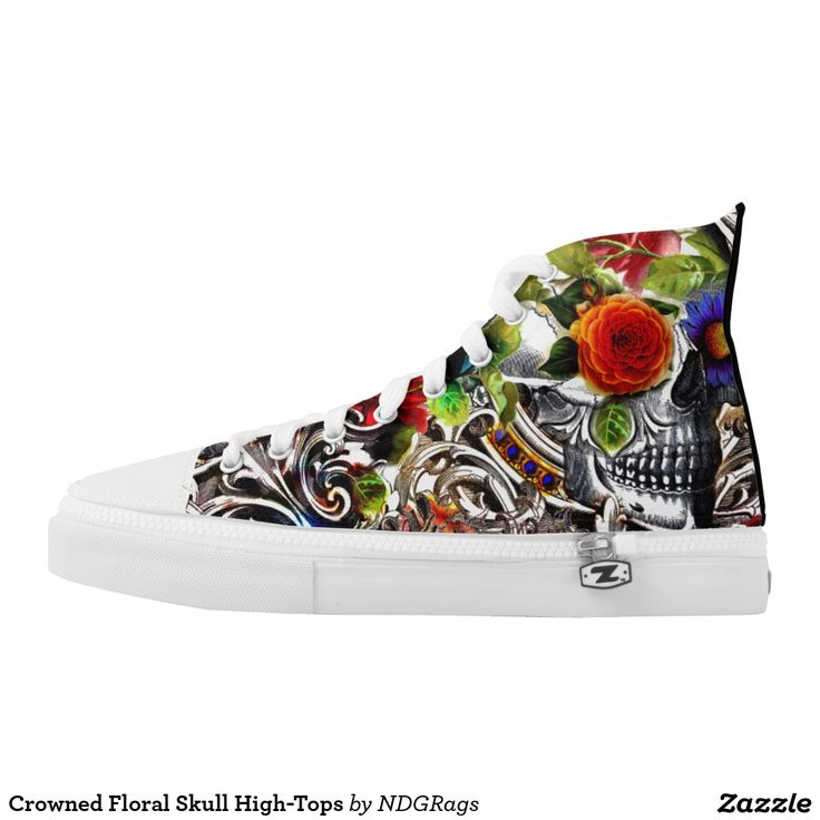 Crowned Floral Skull High-Tops Printed Shoes by NDGRags