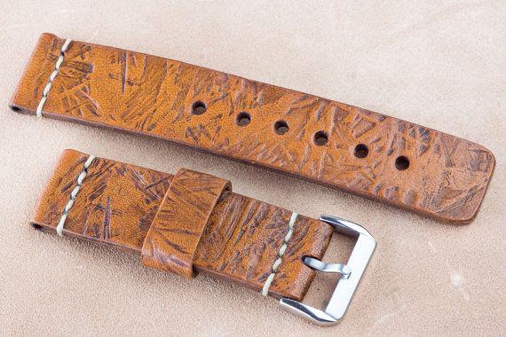 22mm 120 / 70mm  Leather watch strap with by MaciejFigielLeather