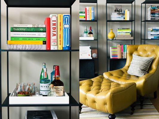 I like these shelves and I would love this chair, but in a different color.