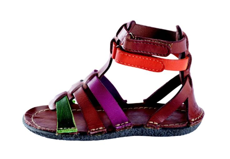 Sandales Kickers : spartiates multicolores en cuir