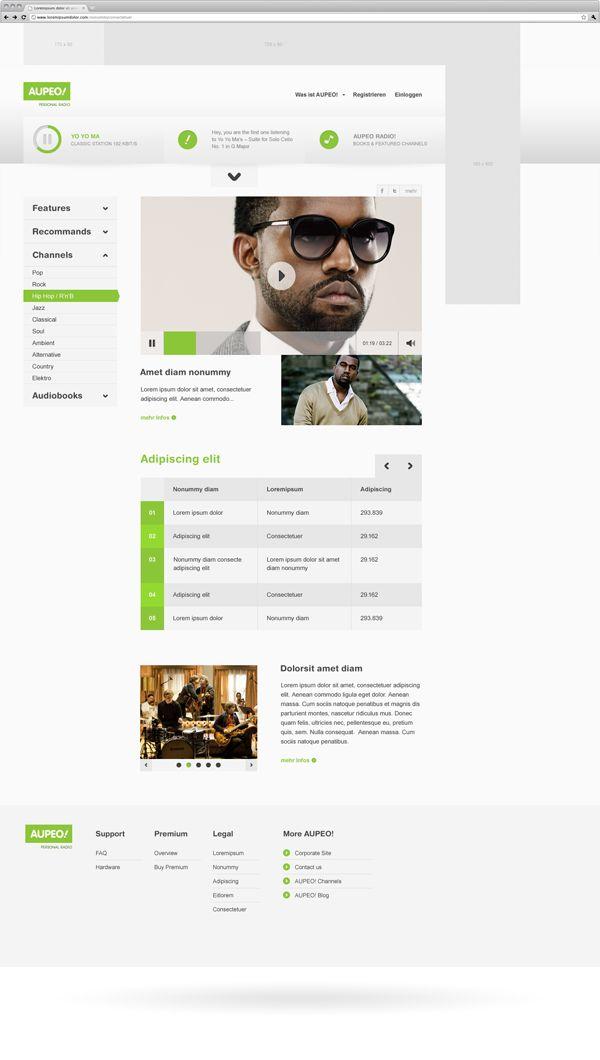 Personal Radio / Rene Bieder Website design layout. Inspirational UX/UI design sample. Visit us at: www.sodapopmedia.com #WebDesign #UX #UI #WebPageLayout #DigitalDesign #Web #Website #Design #Layout