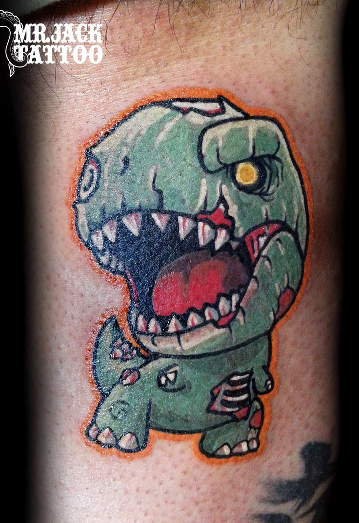 #trex #tirannosauro #dinosauro #zombie #tatuaggi #tattoo #mrjacktattooartist #mrjacktattoo #color #arte #artist #colortattoo #bodyart #mrjacktattoofamily #cartoon #tattoocartoon