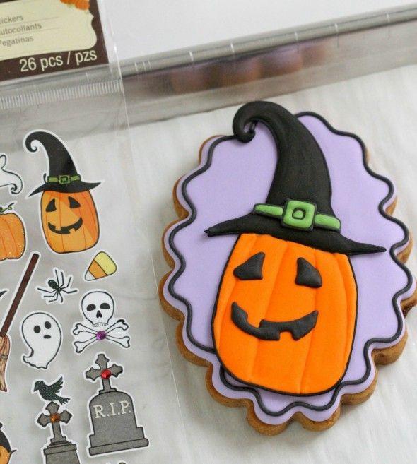halloween jack o lantern decorated cookie