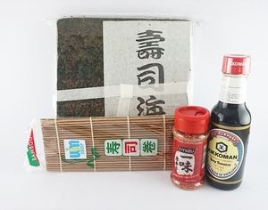 bubuk cabe + kikkoman + takaokaya + sushi mat - P. Komplit C2 Paket Komplit C2: - 1 Nori takaokaya @50 lembar - 1 sushi mat coklat - 1 ichimi togarashi 40g - 1 kikkoman soy sauce 150ml