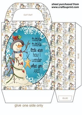 Twinkle snowman gift bag on Craftsuprint designed by Stephen Poore -