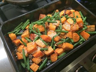 Diary of a Sauce Pot: Rachael's Recipes - Roast Sweet Potato with Green Beans & Sesame Seeds