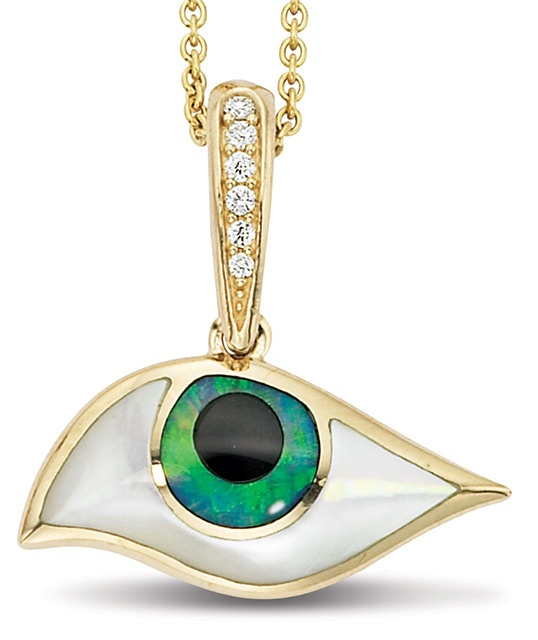 KABANA••• Mati Collection Kalo Mati 14K Yellow Gold Pendant with Inlay This Eye shaped Pendant is inlaid with White Mother of Pearl, Opal, and Onyx, set in 14k Yellow Gold and accented with Diamonds. Total weight of Diamonds is .04ct, SI1 quality G-H color. Copyright © 2013 Kabana Inc.