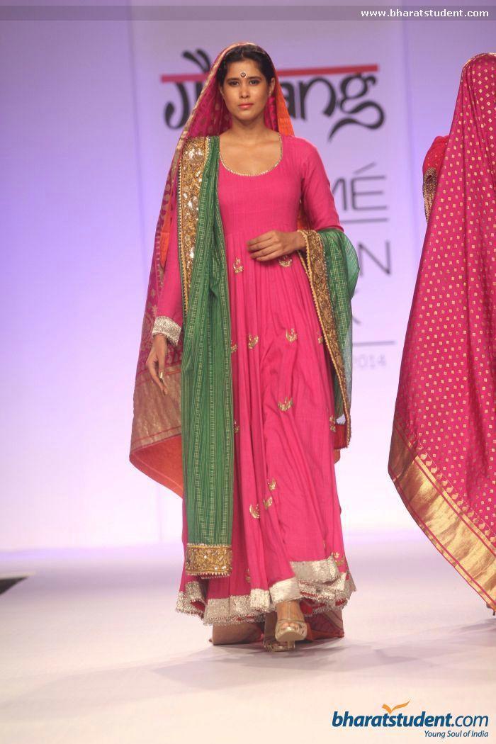 Pink anarkali. Gaurang Show at Lakme Fashion Week Summer/Resort 2014