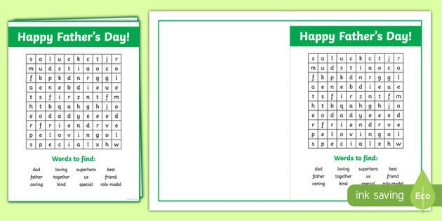 Father's Day Wordsearch Card Activity Sheet-Australia