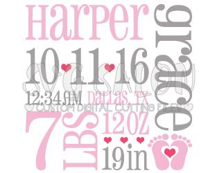Baby Girl Fox Birth Announcement Template SVG Cut File Set with Stats in SVG, EPS, DXF, JPEG, and PNG for Cricut, Silhouette, and Brother ScanNCut Machines