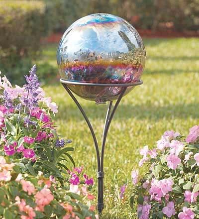 Iridescent Gazing Ball Funky Garden Garden Globes