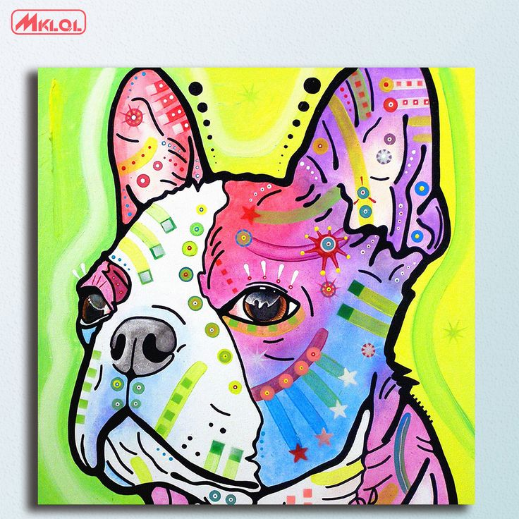Large French Bulldog Oil Painting Wall Art Picture Paiting Canvas Paints Home Decor Abstract Print Painting Modern Wall Decor #Affiliate