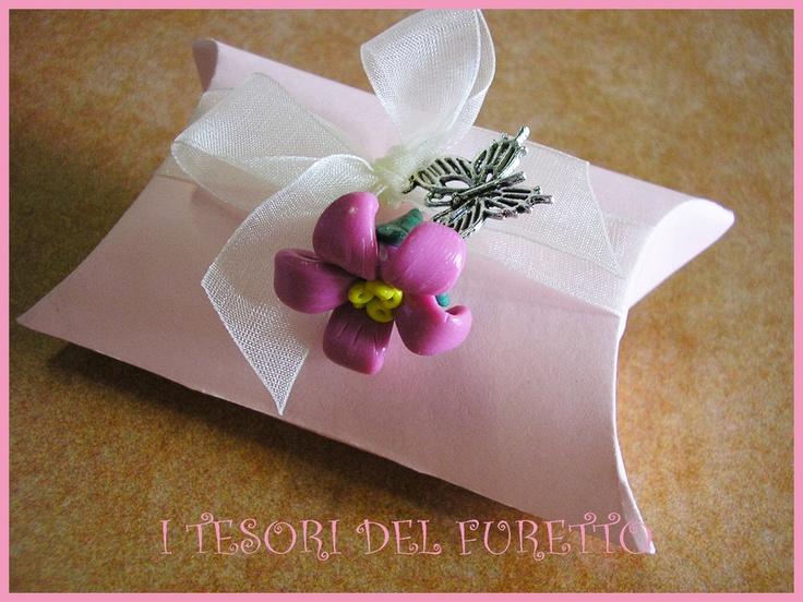 Bomboniera Segnaposto Portaconfetti Fimo Fiore Rosa Matrimonio Comunione Nascita Battesimo Cresima, by I TESORI DEL FURETTO, 4,00 € su misshobby.com