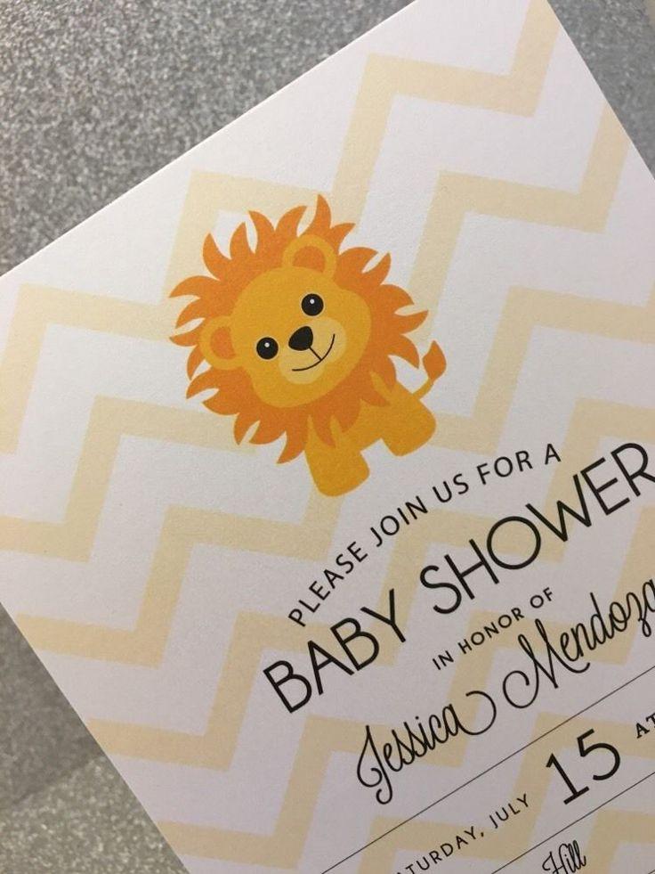 20 Boy Lion Baby Shower Invitation - Yellow Chevron Background #Unknown #BabyShower