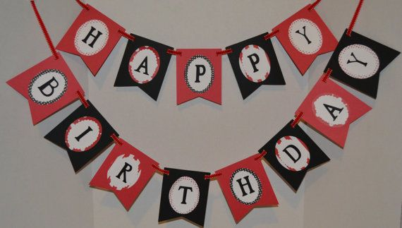 Happy Birthday Olivia Red Black And White Birthday Banner With