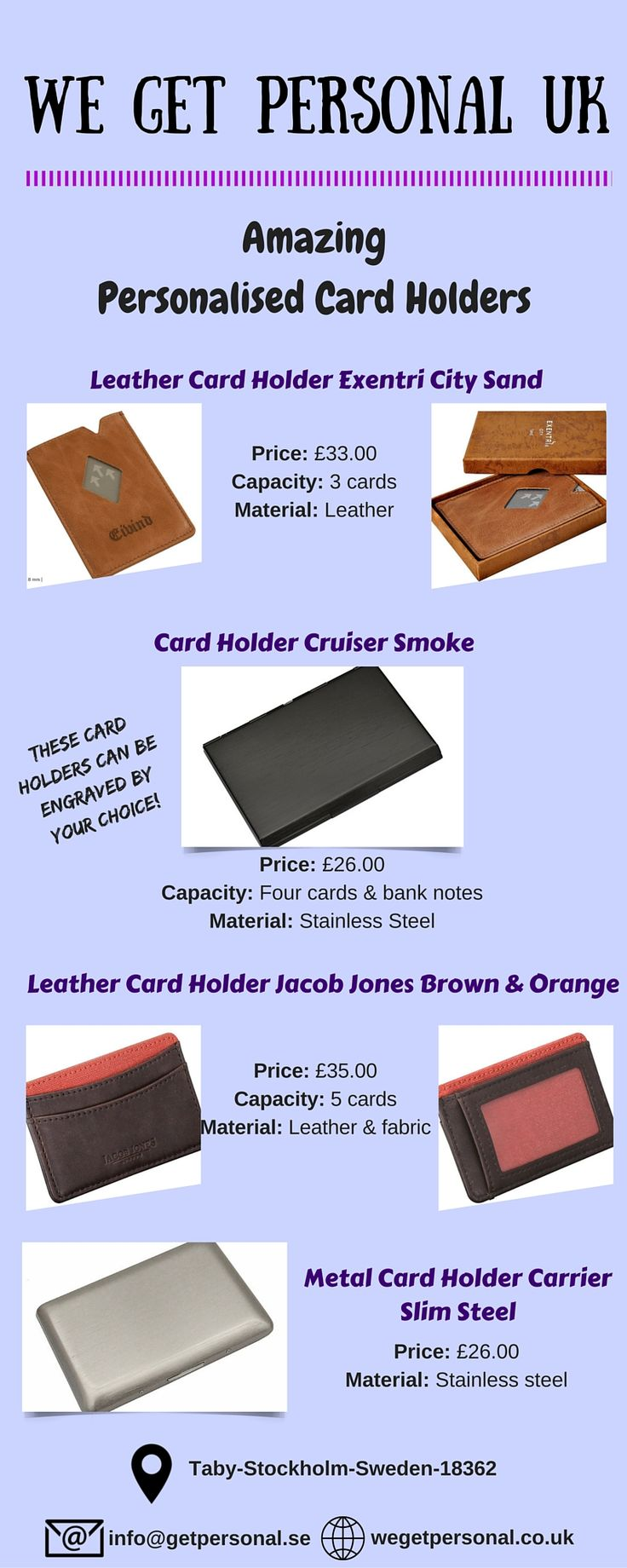 Gift personalised card holders to your loved ones which can be engraved by your choice of text, font and size. We Get Personal UK offers variety of personalised card holders and many more gifts. Add your personal touch by getting it engraved. Shop for your favorite personalised items by visiting us at wegetpersonal.co.uk  #cardholder #LeatherCardHolder #personalisedcardholder #engravedcardholder