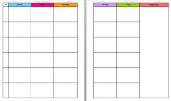 Lesson Plan Template for Binders - Free!!! It's cute and colorful AND has enough room for 7 subjects daily! LOVE it!