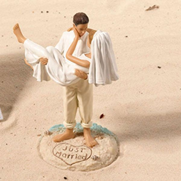 """Just Married"" Beach Couple Cake Topper"