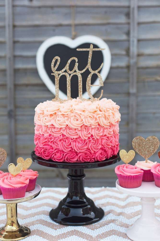 Gorgeous ombre rose cake at a Valentine's Day party! See more party planning ideas at http://CatchMyParty.com!