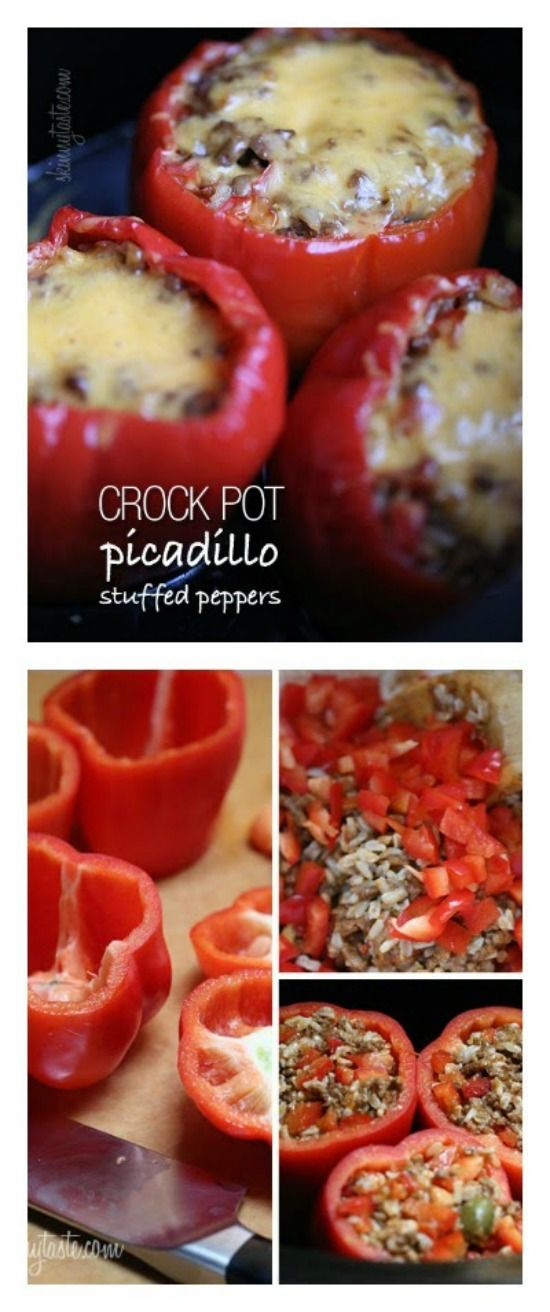Crock Pot Picadillo Stuffed Peppers from Skinnytaste sound delicious for a dinner from the slow cooker, and this recipe is gluten-free and has weight-watchers' points. [featured on SlowCookerFromScratch.com]