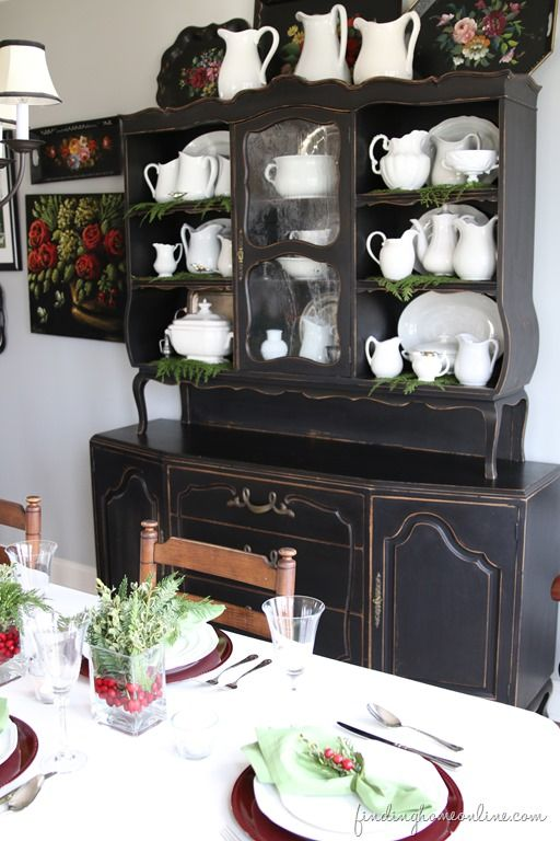 Christmas Decorating Ideas Holiday Housewalk Tour Black HutchWhite HutchBuffet