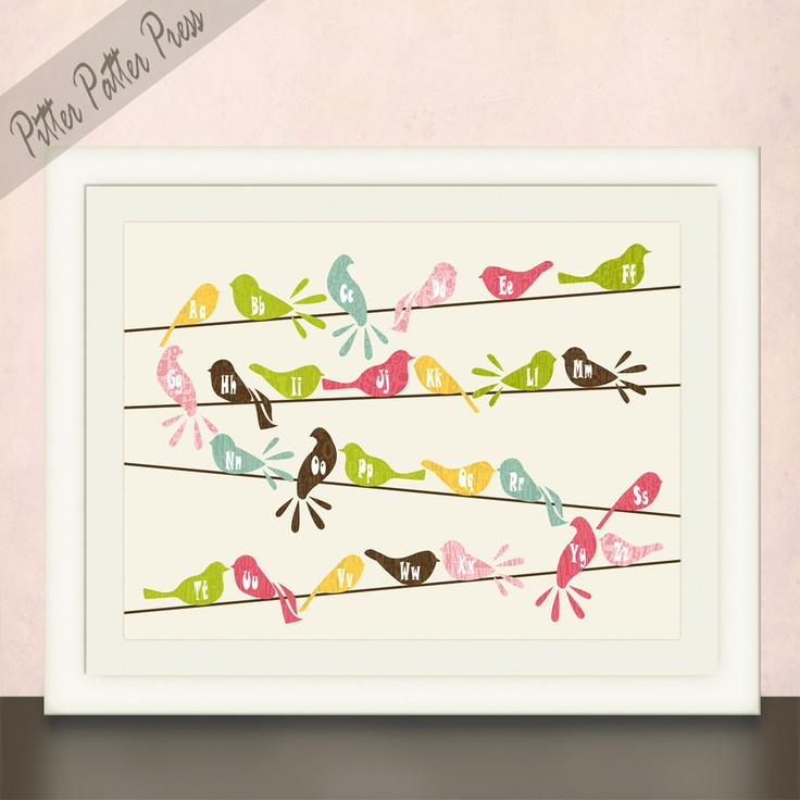 Girls or Boys Nursery Art, Birds on a Wire, Alphabet letters, Wall Art Print in Custom Colors, size 11x14. $24.00, via Etsy.: Boy Nursery Art, Art Birds, Boys Nursery, Alphabet Letters, Nursery Ideas, Custom Colors, Boy Nurseries, Kid Stuff