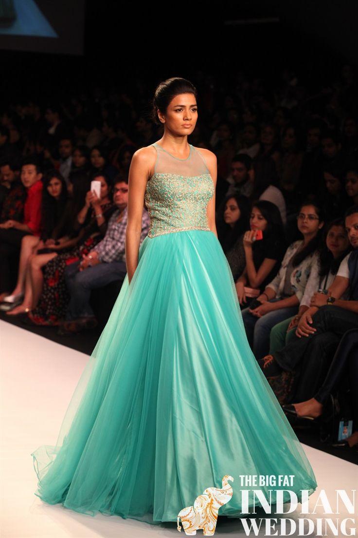 gorgeous teal dress | Jyotsna Tiwari | Lakme Fashion Week 2014