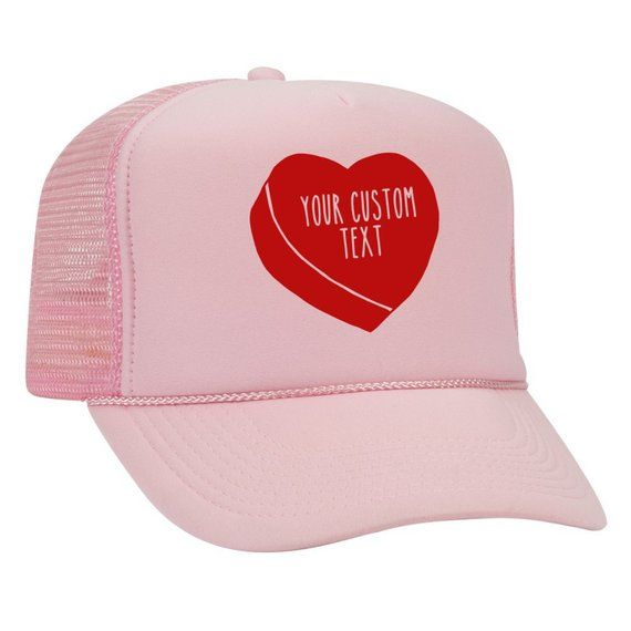 Conversation Heart Trucker Hat, Valentines Day Baseball Cap, Custom Text Personalized Gift, Gifts for boyfriend, Girlfriend Sweetheart Hat