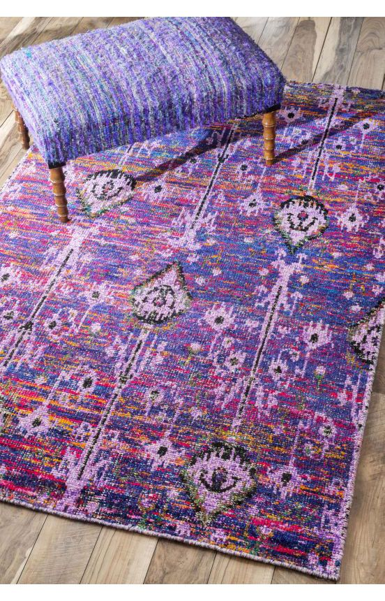 Love this rug and stool! Rugs USA Ikat IK02 Purple Rug. Rugs USA End of Summer Sale up to 80% Off! Area rug, rug, carpet, design, style, home decor, interior design, pattern, trends, home, statement, fall, autumn, cozy, sale, discount, interiors, house, free shipping.