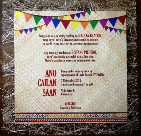 Lucia S Pista Sa Nayon Themed Party Invites Philippine