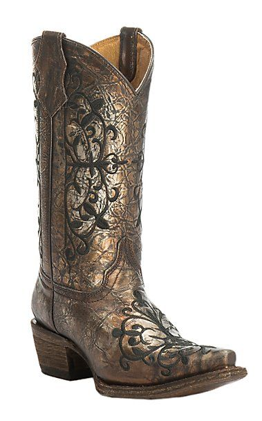 Corral Youth Distressed Bronze with Black Embroidery Snip Toe Western Boots | Cavender's