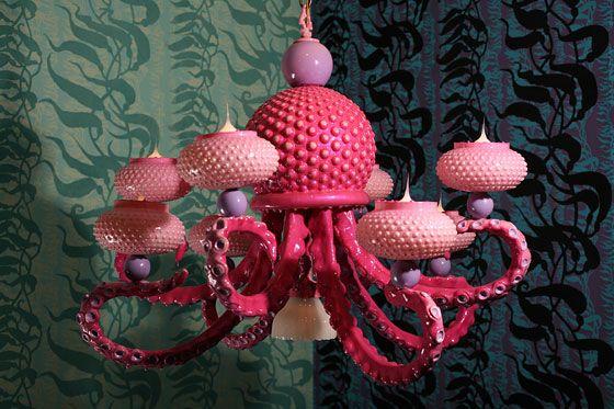 pink tentacle chandelier