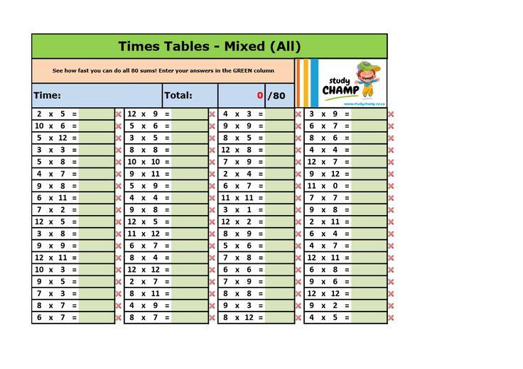 Mathematics : Mixed Maths Excel Workbook