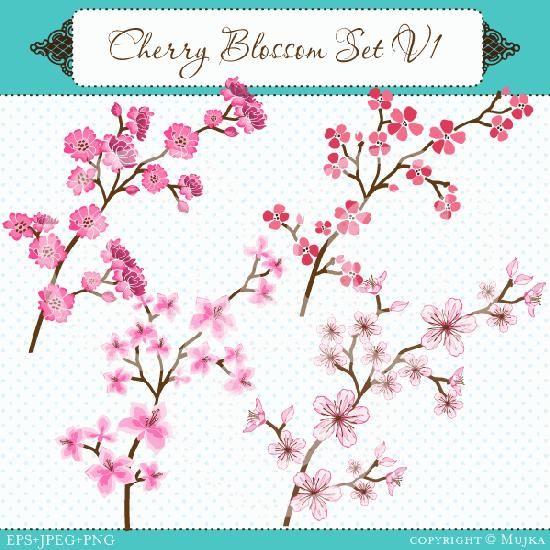 Cherry Blossom Branch Tattoo   ... grafico cherry blossom clipart stylized and realistic cherry blossom