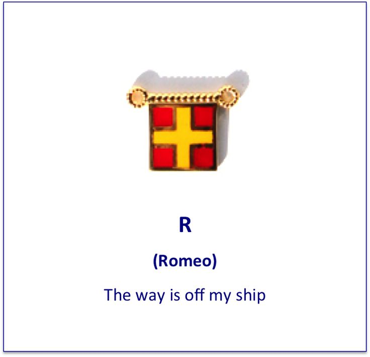 R (Romeo) signal flag charm
