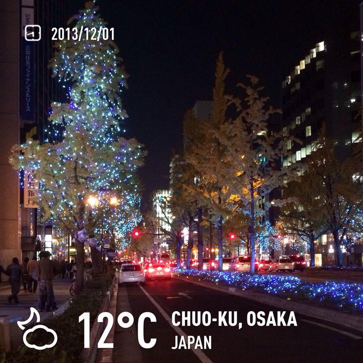 Osaka City Main street. Midisuji winter illumination 2013.