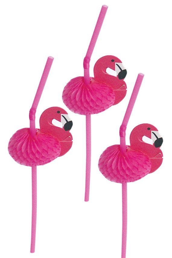 Pink Flamingo Straws Set of 12 by WaitingOnMarthaCraft on Etsy, $4.00
