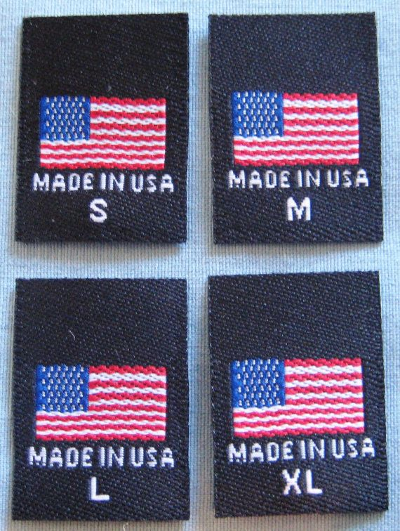100 pcs Black American Flag  Made in USA Red White & by SeanLabels, $7.99