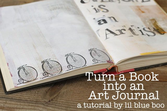 How to turn an old book into an art journal. DIY tutorial via lilblueboo.com #art #journal #sketchbook