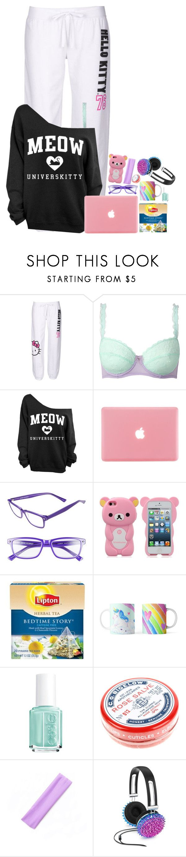"""Untitled #1321"" by emmzizleez888 ❤ liked on Polyvore featuring Hello Kitty, Corinne McCormack, Lipton, Essie, C.O. Bigelow, Celebrate Shop and vintage"